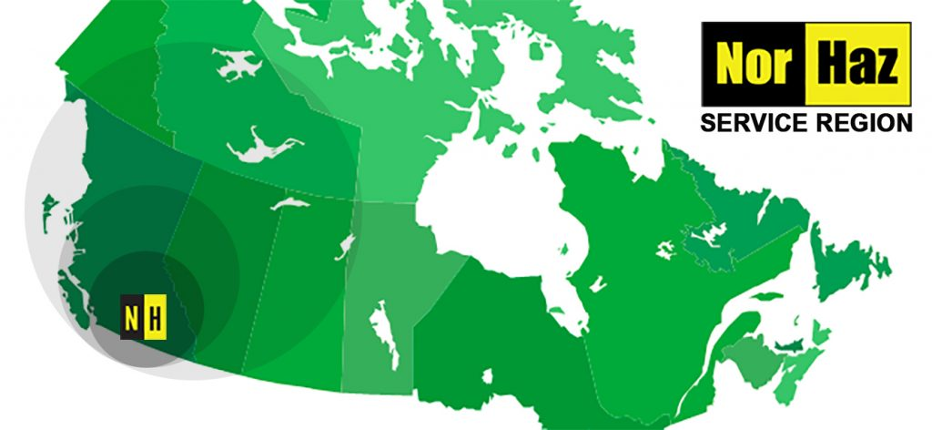 Map of Canada showing NorHaz Service Region
